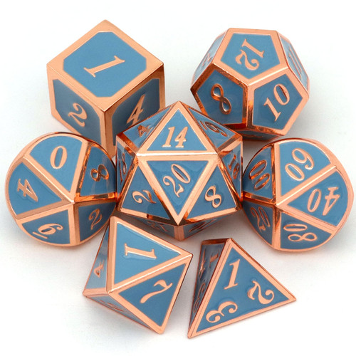 copper dice, metal dice, rosegold dice, haxtec dice