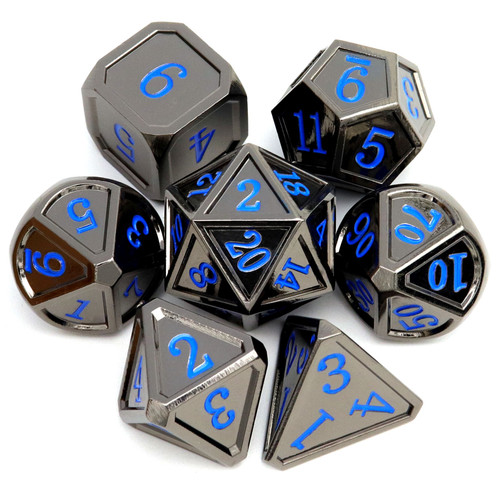 Haxtec Classic Collection Metal DND Dice-Black Blue Numbers