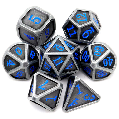 Haxtec Classic Collection Metal DND Dice-Fine Antique Iron Blue Numbers