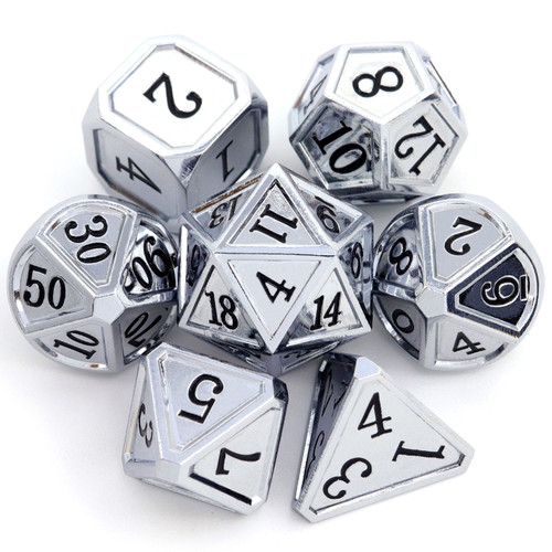 Haxtec Classic Collection Metal DND Dice-Silver Black Numbers