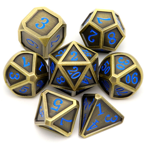 Haxtec Classic Collection Metal DND Dice-Fine Antique Bronze Blue Numbers