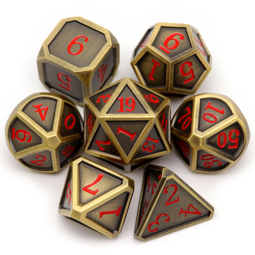 Haxtec Classic Collection Metal DND Dice-Fine Antique Bronze Red Numbers