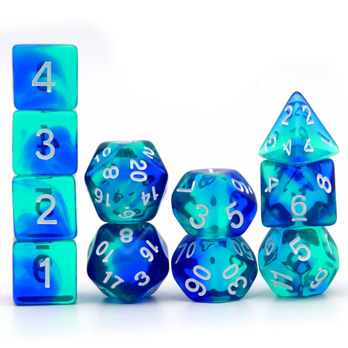 Haxtec 11PCS DND Dice Set Polyhedral D&D Dice for RPGs-Translucent Shading Blue