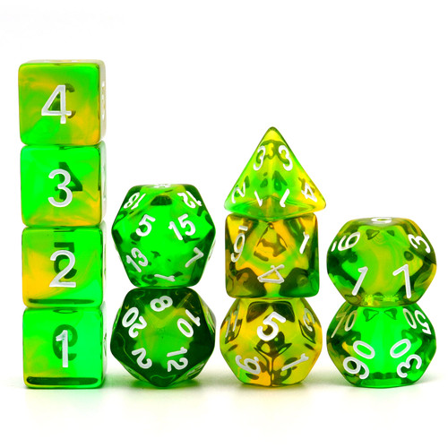 Haxtec 11PCS DND Dice Set Polyhedral D&D Dice for RPGs-Translucent Yellow Green