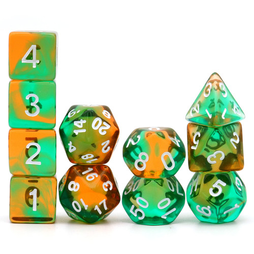 Haxtec 11PCS DND Dice Set Polyhedral D&D Dice for RPGs- Translucent Amber Teal