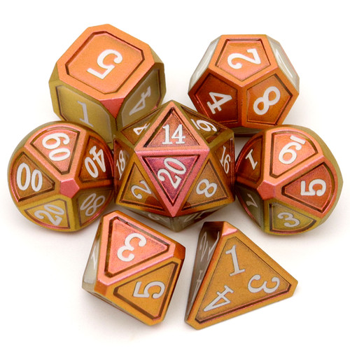 Haxtec Classic Collection Metal DND Dice-Copper Gold Shift White Numbers