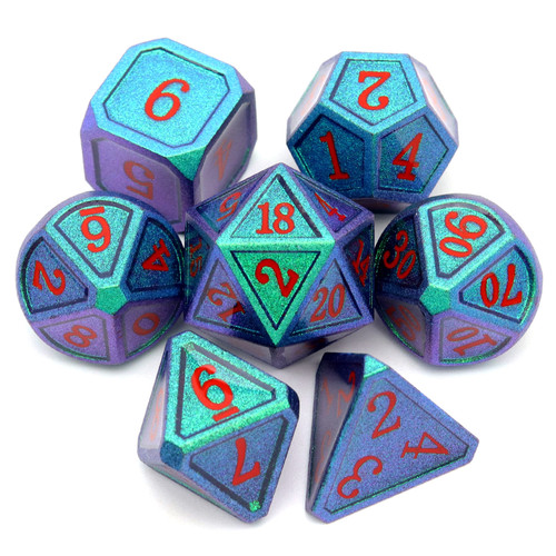 Haxtec Classic Collection Metal DND Dice-Noble Green Purple Shift Red Numbers