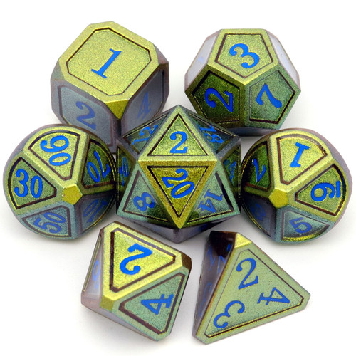 Haxtec Classic Collection Metal DND Dice-Gold Blue Shift Blue Numbers