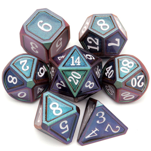 Haxtec Classic Collection Metal DND Dice-Dark Army Green Purple Shift White Numbers