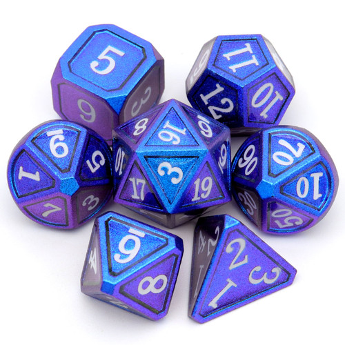 Haxtec Classic Collection Metal DND Dice-Navy Blue Purple Shift White Numbers