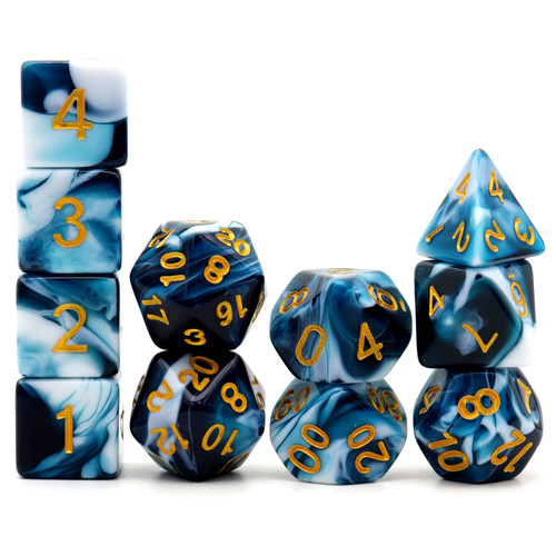Haxtec 11PCS DND Dice Set Polyhedral D&D Dice for RPGs-Teal White Gemini Dice