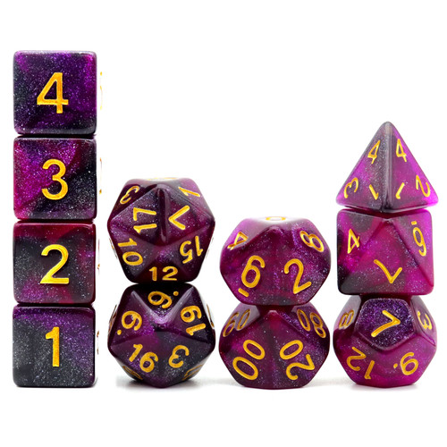 Haxtec 11PCS DND Dice Set Polyhedral D&D Dice for RPGs-Purple Black Nebula Dice
