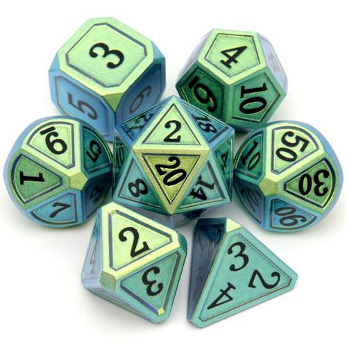 Haxtec Classic Collection Metal DND Dice-Light Army Green Blue Shift Black Numbers