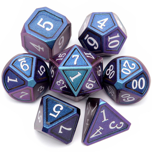 blue metal dice, blue dnd dice set, chameleon metal dice, color changing metal dice, color changing dice