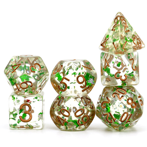 Haxtec Two-tone Gold Foil DND Dice Set 7PCS Polyhedral RPG Resin Dice-Green Silver Foil