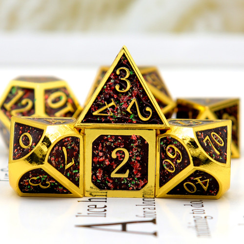 gold metal dice , glitter metal dice, glitter dice, black red green dice, haxtec metal dice