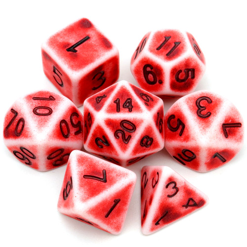 antique dice, ancient dice, red dice, rpg dice, bone dice, polyhedral dice, dice set, dnd dice