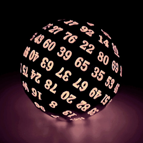 silver metal dice, silver red dice, glow in the dark dice, d100 dice, single d100, metal d100 dice, d100, glow in the dark d100 dice