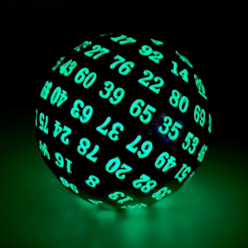 silver metal dice, glowing green dice, metal d100, d100, d100 dice, glow in the dark d100 dice