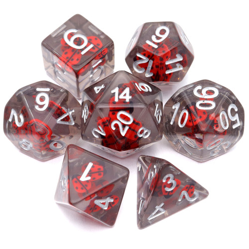 lady bug dice, resin dice, filled dice, red dice, grey dice, insect dice, rpg dice, polyhedral dice