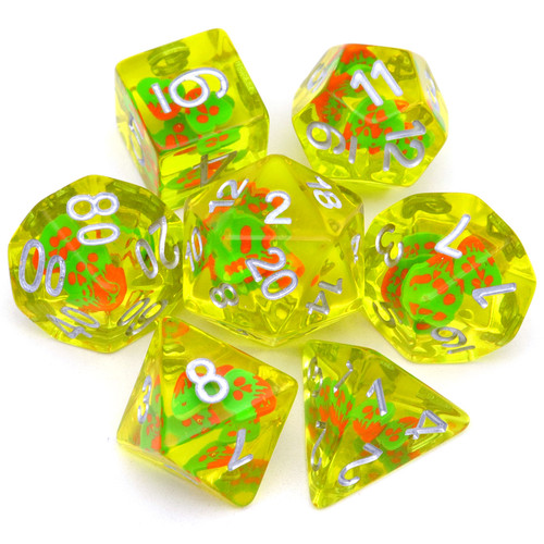 red green dice, yellow dice, olive dice, dnd die, rpg dice, resin dice, filled dice, filled resin dice, dice set, dnd dice set, rpg dice set, haxtec dice, ghost face dice, ghost dice, halloween dice, spirit dice
