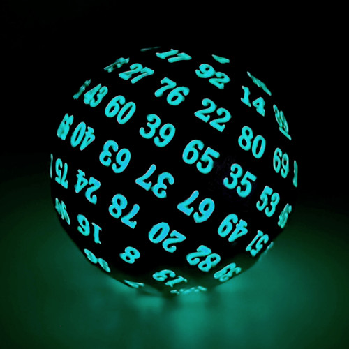gold glowing blue dice, d100 dice, 100 sided dice, dnd dice, glow in the dark dice