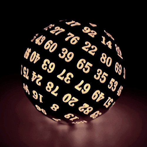 black d100 dice, glow in the dark d100 dice, dnd dice, 100 sided dice, glowing red dice