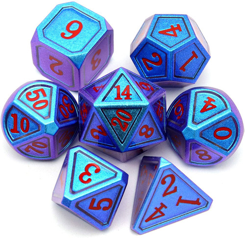 color changing dice, chameleon dice, dnd dice, metal dice, d d dice, blue dice, metal dice blue