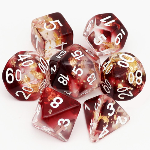 red dice resin sice, dnd dice rpg dice polyhedral dice d&d dice set