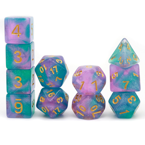 11PCS DND Dice Set Polyhedral D&D Dice for RPGs-Teal Purple Glitter