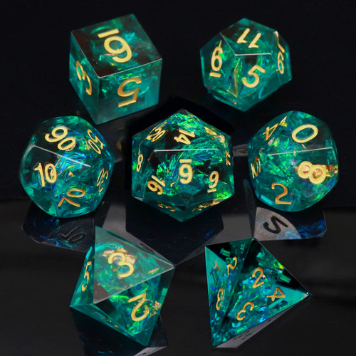 Deep Sea Blue Sharp Edge Resin Dice With Iridescent Mylar Inclusion-Gold Numbers