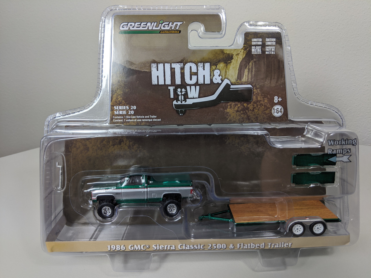 1 64 Hitch Tow Series 20 1986 Gmc Sierra Classic 2500 With Flatbed Trailer Green Machine Town And Country Toys