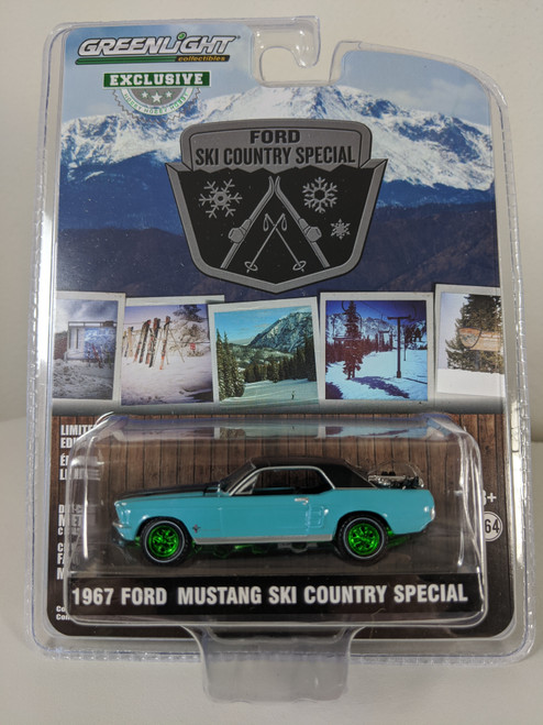 """1:64 1967 Ford Mustang Coupe """"Ski Country Special"""" - Winter Park Turquoise (Hobby Exclusive) - Green Machine"""