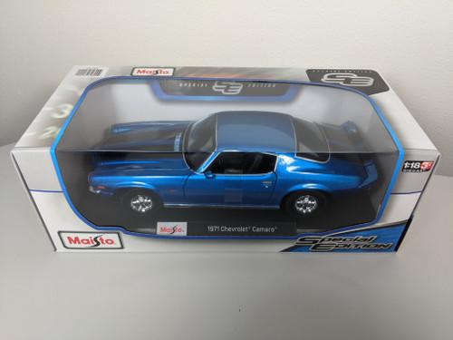 1:18 1971 Camaro Z28, Blue with Black Stripes, Special Edition by Maisto