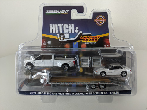 1:64 2019 Ford F-350 Platinum and 1992 Fox Body Drag Mustang – White Platinum Pearl Metallic with Silver Gooseneck Trailer - LBE & TCT Exclusive