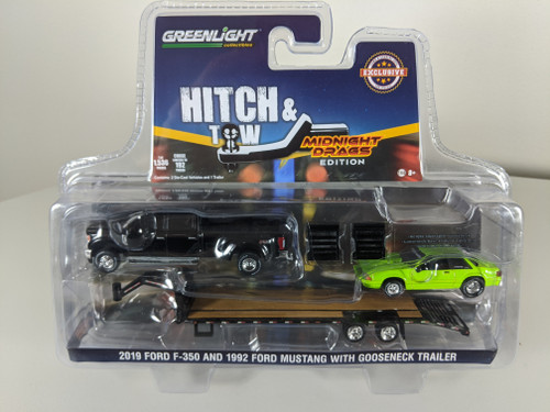 1:64 2019 Ford F-350 Platinum and 1992 Fox Body Drag Mustang – Lime Green with Gooseneck Trailer - LBE & TCT Exclusive