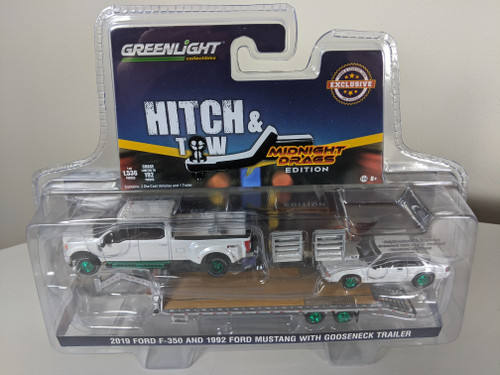 1:64 2019 Ford F-350 Platinum and 1992 Fox Body Drag Mustang – White Platinum Pearl Metallic with Silver Gooseneck Trailer - LBE & TCT Exclusive - Green Machine