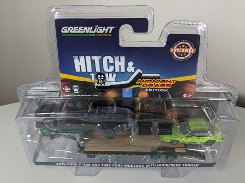 1:64 2019 Ford F-350 Platinum and 1992 Fox Body Drag Mustang – Lime Green with Gooseneck Trailer - LBE & TCT Exclusive - Green Machine