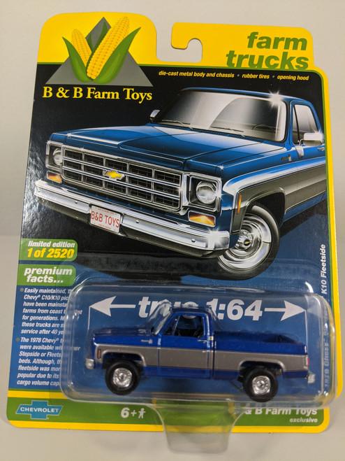 1:64 1978 Chevy Silverado K10 Fleetside, Blue & Silver, Square Body, B&B Farm Toys Exclusive