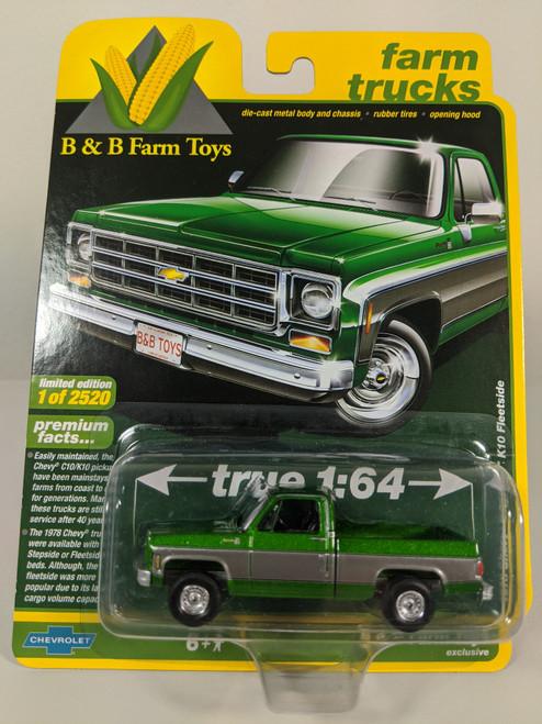 1:64 1978 Chevy Silverado K10 Fleetside, Green & Silver, Square Body, B&B Farm Toys Exclusive