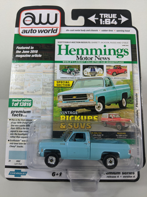 1:64 1979 Chevy C10 Scottsdale Fleetside, Light Blue, Square Body by Auto World