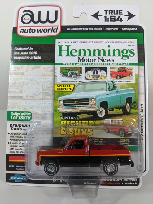 1:64 1979 Chevy C10 Scottsdale Sport, Red/Black, Square Body by Auto World