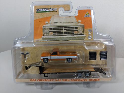 1:64 1984 Chevrolet K-20 Square Body Orange & White with Gooseneck Trailer, B&B H&T Exclusive
