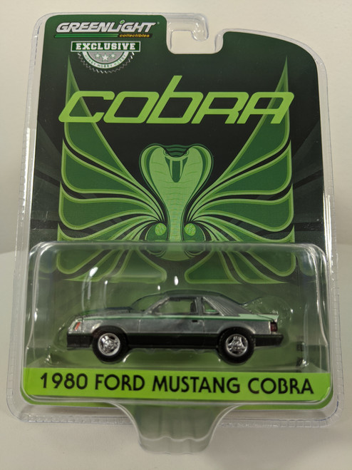 1:64 1980 Ford Fox Body Mustang Cobra - Black with Green Cobra Hood Graphics and Stripe Treatment (Hobby Exclusive) - Raw Green Machine Chase
