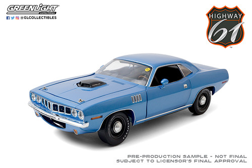1:18 Highway 61 - 1:18 Mecum Auctions - 1971 Plymouth HEMI Cuda - Blue (Indianapolis 2011, Lot #S266)