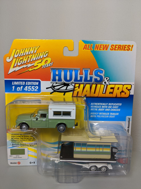 1:64 Hulls & Haulers 1960 Studebaker Pickup with Houseboat by Johnny Lightning