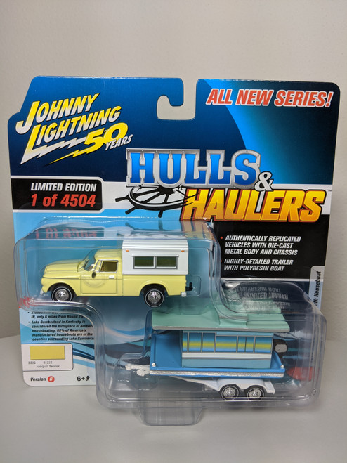 1:64 Hulls & Haulers 1960 Studebaker Pickup Jonquil Yellow and Camper with Houseboat by Johnny Lightning