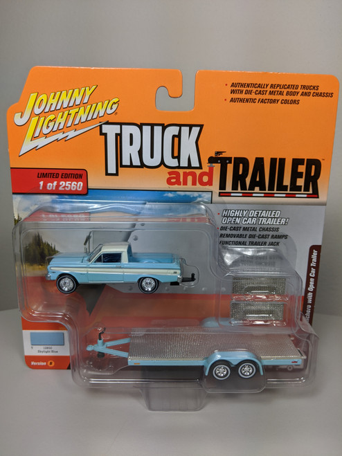 1:64 Truck and Trailer 1964 Ford Ranchero with Open Car Trailer  by Johnny Lightning