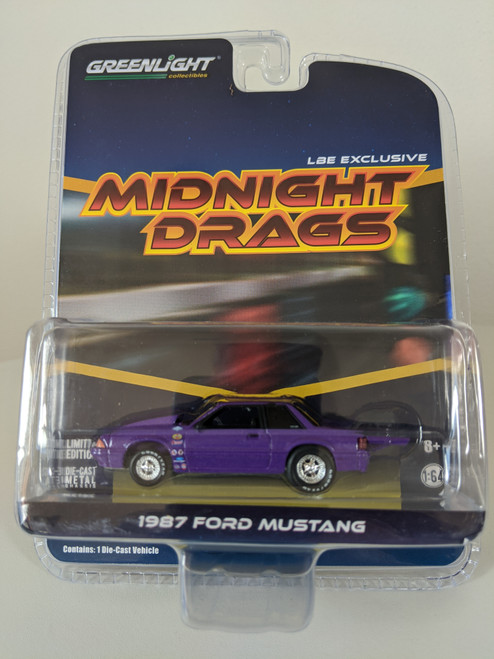 1:64 1987 Ford Fox Body Midnight Drags Mustang Coupe, Purple, LBE Exclusive