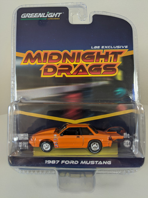 1:64 1987 Ford Fox Body Midnight Drags Mustang Coupe, Orange, LBE Exclusive
